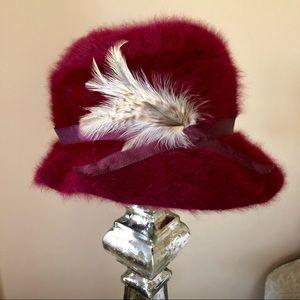 Vintage burgundy rabbit fur blend hat England made